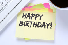 Happy Birthday greetings celebration business desk Stock Image