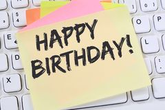 Happy Birthday greetings celebration business note paper. Computer keyboard Royalty Free Stock Photos
