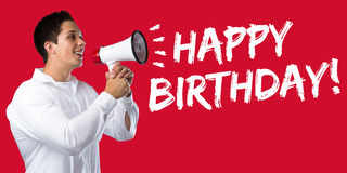 Happy Birthday greetings celebration young man megaphone Stock Photo