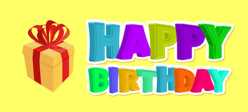 Happy birthday greetings. Gift and inscription of colored letter Royalty Free Stock Images