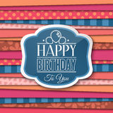 Happy Birthday greetings with label on color background. Vector. Royalty Free Stock Photo