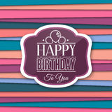 Happy Birthday greetings with label on color background. Vector. Stock Photos