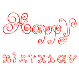 Happy birthday. Greetings made with red letters the florid vector Stock Photography
