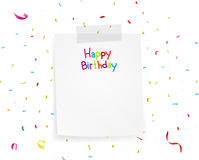 Happy birthday greetings on note paper Stock Photography