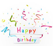 Happy birthday greetings with paper Stock Photography