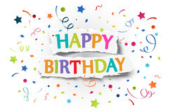 Happy birthday greetings on ripped paper Stock Image