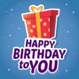 Happy Birthday Greetings Sticker With Present Stock Photo