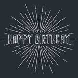 happy birthday greetings sunrays retro theme Royalty Free Stock Images