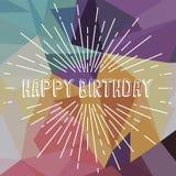 happy birthday greetings sunrays retro theme Royalty Free Stock Photography