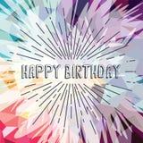 Happy birthday greetings sunrays retro theme Stock Images
