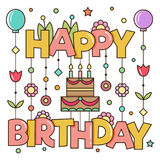 Happy birthday greetings. Vector illusration. Happy birthday. Vector illusration of a greeting card Royalty Free Stock Images