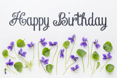 Happy birthday greetings with viola flowers. Happy birthday greetings with fresh viola flowers and leaves on white art canvas stock photos