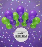 Happy birthday greetings with violet and green balloons 3d rendering