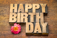 Happy Birthday greetings in wood type Stock Photo