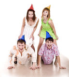 Happy birthday group of young people. Royalty Free Stock Image