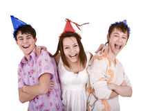 Happy birthday group of young people. Royalty Free Stock Photos
