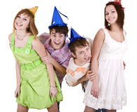 Happy birthday group of young people. Stock Photos
