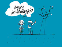 Happy birthday Grunge Kids Greeting Card royalty free illustration