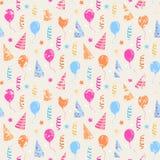 Happy birthday grunge pattern. Vector seamless Happy birthday,festive pattern with colorful party hat,air balloon,serpentine with grunge effect Royalty Free Stock Photos