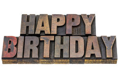 Happy birthday in grunge wood type Stock Images