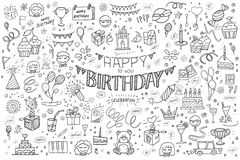 Happy birthday hand drawn abstract Stock Photo
