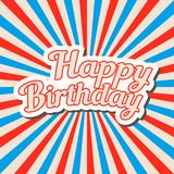Happy birthday hand drawn banner, pop art style  lettering design on the Stock Images