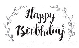 Happy Birthday Hand Drawn Calligraphy Pen Brush Vector Stock Photography