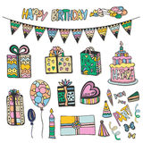 Happy Birthday hand drawn decorations. Doodle vector set with cakes, gift boxes and other party elements Royalty Free Stock Photos