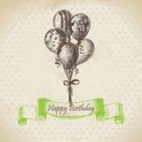 Balloons. Happy Birthday hand drawn  illustration Stock Photography