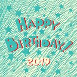 Happy Birthday hand drawn inscription. Vector blue doodle calligraphy greeting card with stars. Cartoon funny bold letters for stock illustration