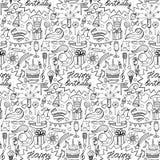 Happy birthday hand drawn seamless pattern Royalty Free Stock Photo