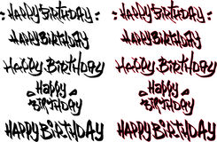 Happy birthday hand drawn text tagged with graffiti fonts Stock Photo
