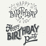 Happy birthday hand drawn typographic design set stock illustration