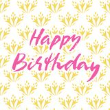 Happy birthday hand drawn vector lettering design. Perfect for greeting card. stock illustration