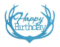 Happy birthday hand lettering with blue glitter effect, isolated on white background Royalty Free Stock Images