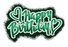 Happy birthday. Hand lettering with circle background vector illustration