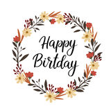 Happy Birthday Hand Lettering Greeting Card. Vector Calligraphy. Floral Wreath Stock Images