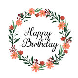 Happy Birthday Hand Lettering Greeting Card. Vector Calligraphy. Floral Wreath Royalty Free Stock Photos