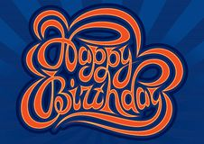 HAPPY BIRTHDAY hand lettering - handmade calligraphy Stock Image
