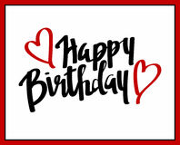 Happy birthday. Hand lettering (with hearts stock illustration
