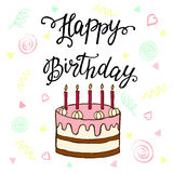 Happy Birthday hand lettering and sweet cake. Royalty Free Stock Photo