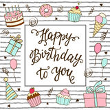 Happy Birthday hand lettering and sweet cake. Royalty Free Stock Photography