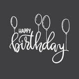 Happy Birthday. Hand lettering typography template. For posters, greeting cards, prints, balloons, party decorations. Black-and-white doodle hand-drawn contour vector illustration