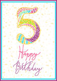 Happy birthday hand lettering. Vector greeting card. Original calligraphic phrase Stock Photos