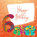 Happy birthday hand lettering. Vector greeting card. Original calligraphic phrase Stock Images