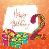 Happy birthday hand lettering. Vector greeting card. Original calligraphic phrase Stock Image