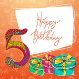 Happy birthday hand lettering. Vector greeting card. Original calligraphic phrase Royalty Free Stock Photos