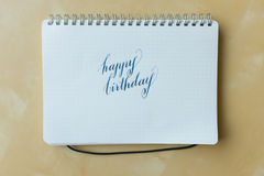 Happy birthday hand writing Stock Images