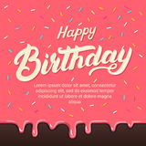 Happy birthday hand written lettering on colorful donuts glaze background with sprinkle topping. Invitation and greeting card. Typographic design. Vector Stock Photos