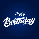 Happy birthday hand written lettering for invitation and greeting card, posters. Calligraphic design. Isolated on blue background. Vector illustration Royalty Free Stock Photos